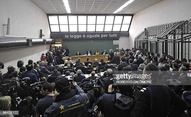 A view of the court room inside the Naples court palace is seen on April 13 2010 where former Juventus Football Club general manager Luciano Moggi is...