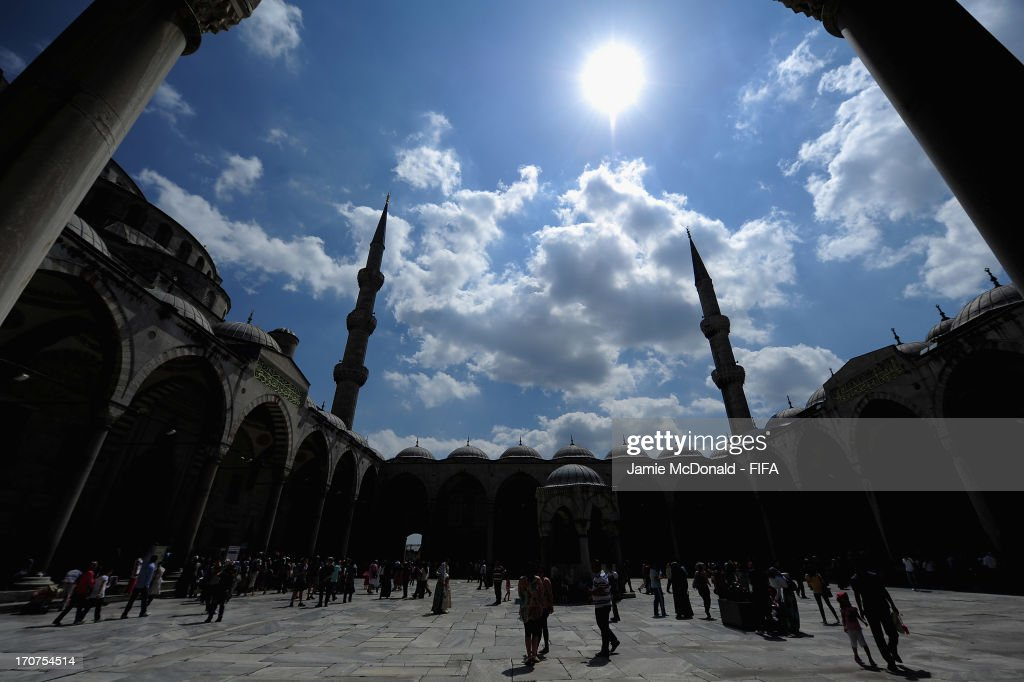 A view of the courtyard in the Blue Mosque on June 17, 2013 in Istanbul, Turkey.