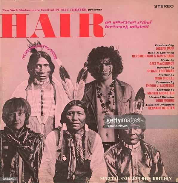 View of the cover of the original offBroadway cast recording of the musical 'Hair' 'an American Tribal LoveRock Musical' 1967 The cover features the...
