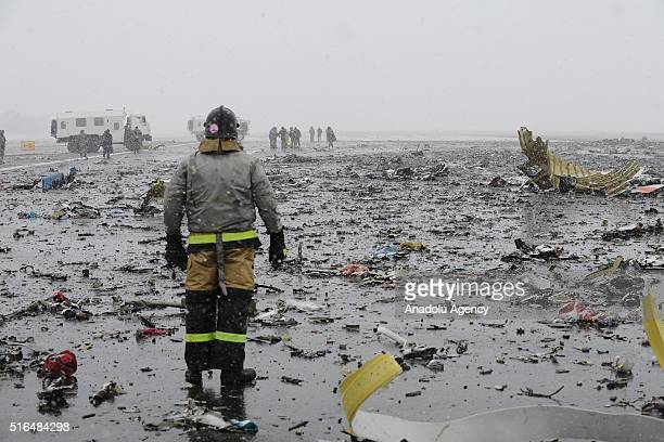 A view of the crash site is seen after FlyDubai Boeing 737800 crashed down on the runway at the Rostov on Don airport in Russia on March 19 2016 A...