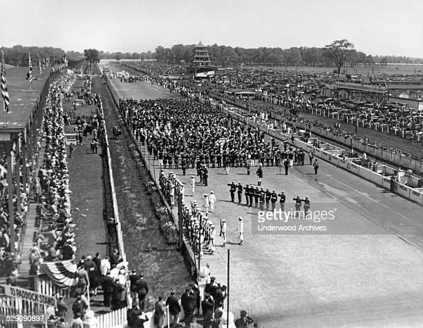 A view of the crowd and ceremonies at the Indy 500 race today won by Louis Meyer driving a Miller Special at 994 mph Indianapolis Indiana May 30 1928