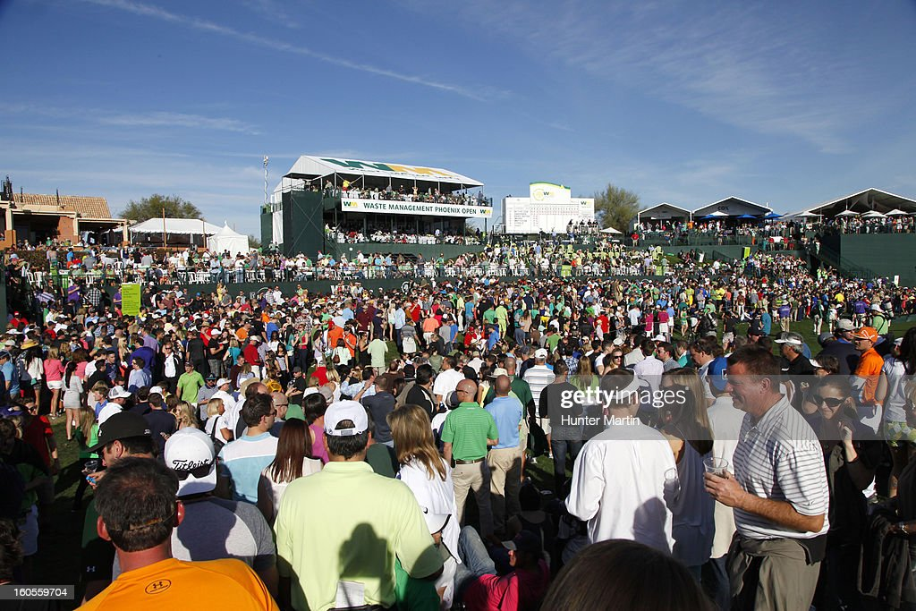 A view of the crowd around the 18th green during the third round of the Waste Management Phoenix Open at TPC Scottsdale on February 2, 2013 in Scottsdale, Arizona.