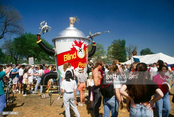View of the crowd around the 'Blind Bunny' art installation near the US Capitol Grounds during an Earth Day rally Washington DC April 22 1990 The art...