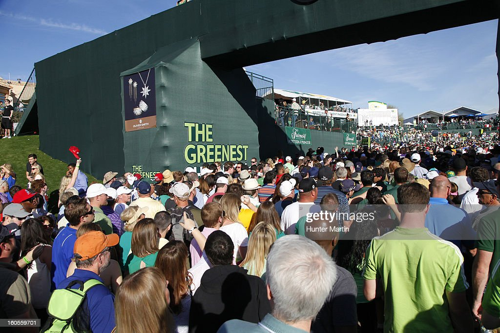 A view of the crowd around the clubhouse during the third round of the Waste Management Phoenix Open at TPC Scottsdale on February 2, 2013 in Scottsdale, Arizona.