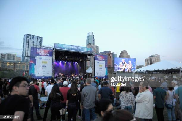 A view of the crowd as Ozomatli performs onstage at SXSW Outdoor Stage at Lady Bird Lake during 2017 SXSW Conference and Festivals on March 16 2017...