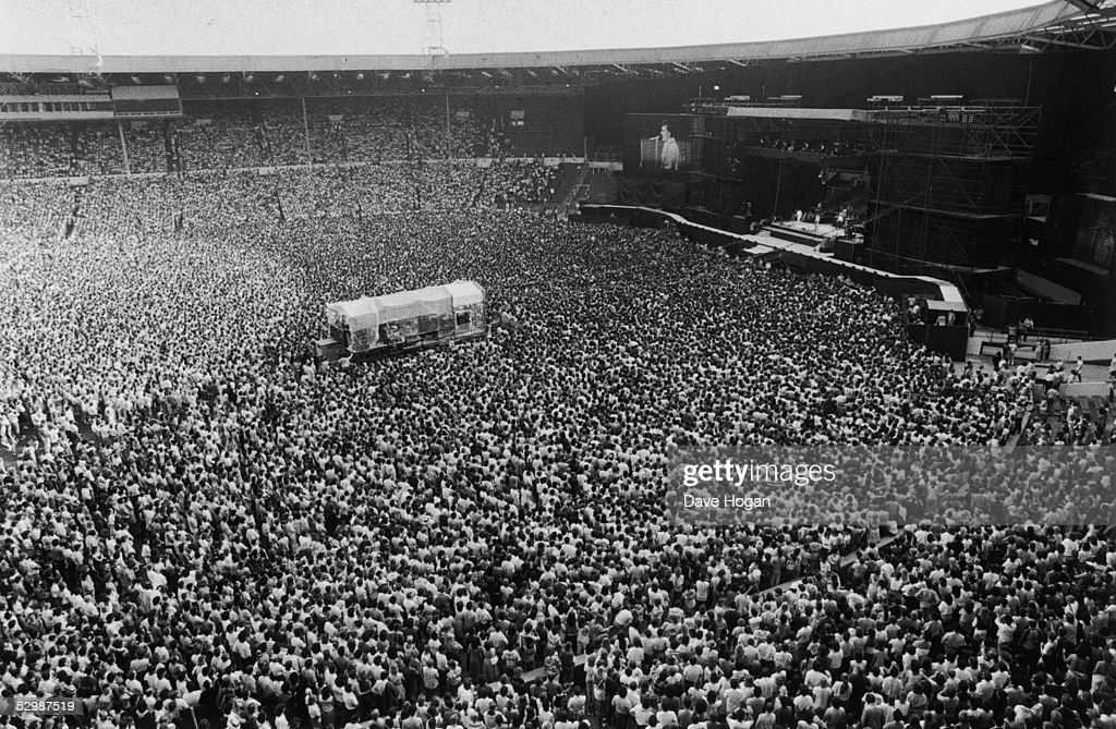 A view of the crowd at the Bruce Springsteen '4th of July' concert, Wembley Stadium, 3rd July 1985.