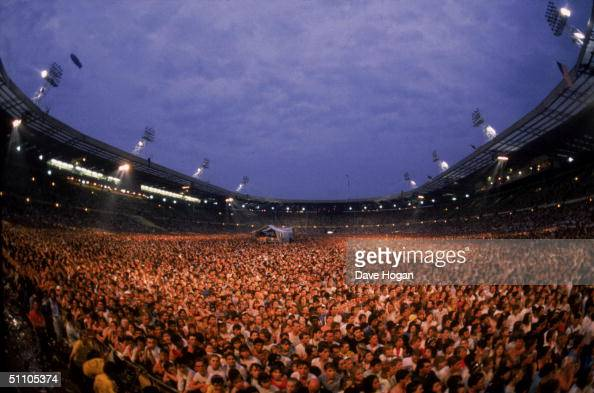 A view of the crowd at the Live Aid charity concert Wembley Stadium London 13th July 1985