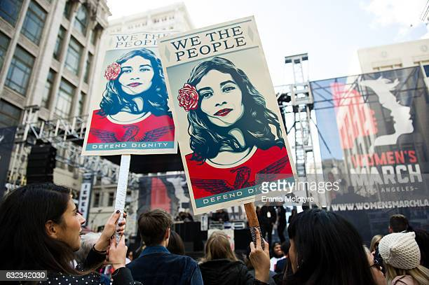 A view of the crowd at the women's march in Los Angeles on January 21 2017 in Los Angeles California