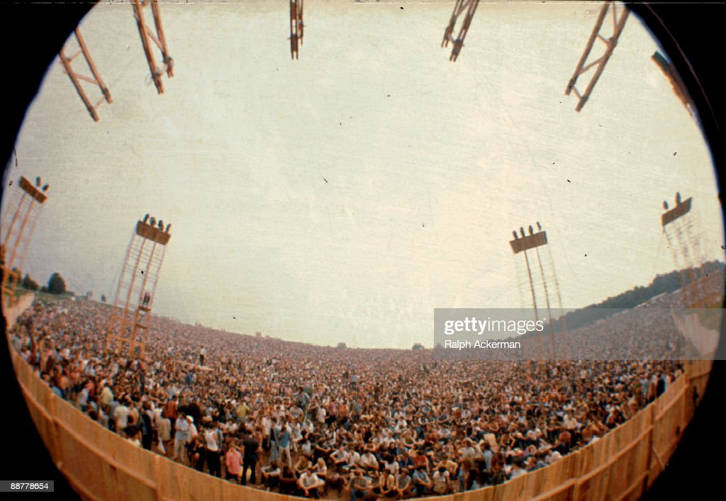 A view of the crowd at the Woodstock Music Festival taken from the main stage Bethel NY August 1969