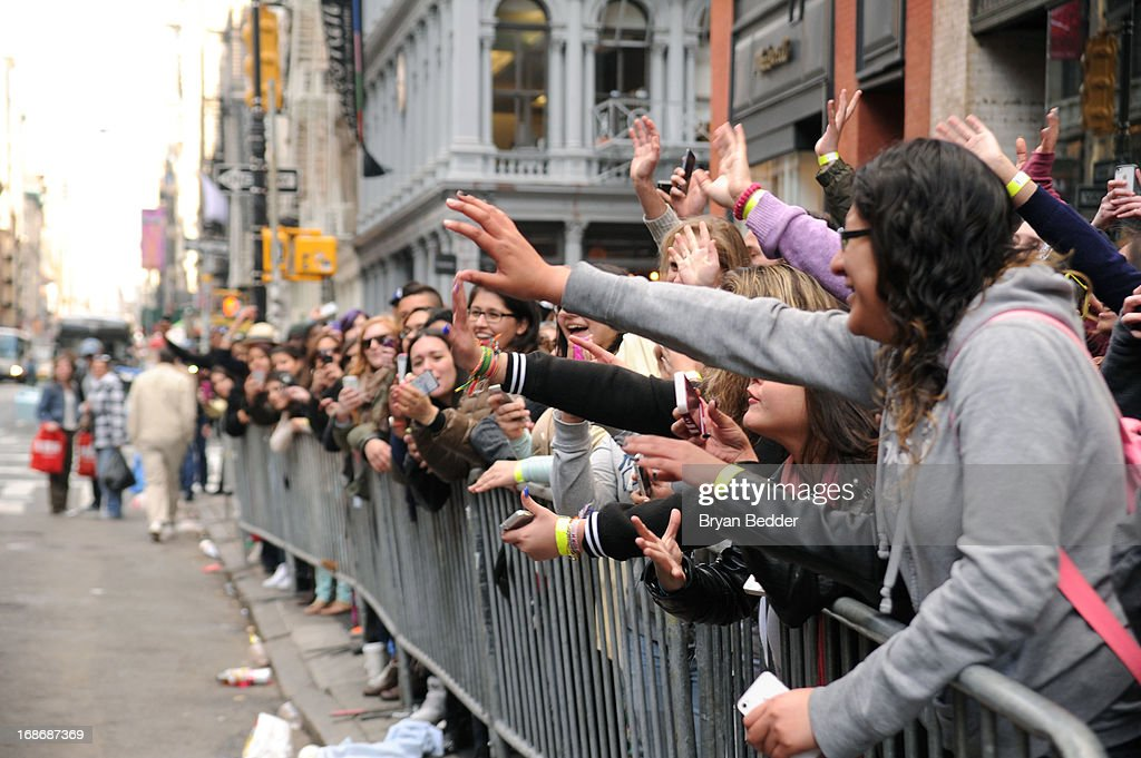 A view of the crowd at X Factor's Topshop photo call with Demi Lovato & 5th Harmony on May 13, 2013 in New York City.