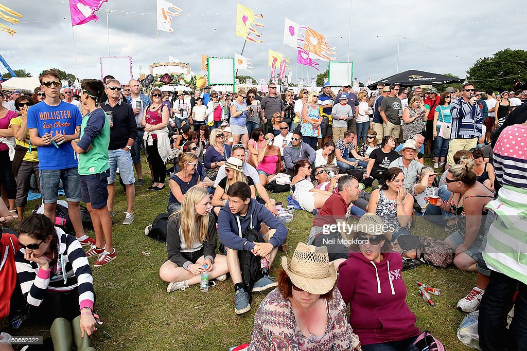 A view of the crowd during Matt Cardle performance at The Isle of Wight Festival at Seaclose Park on June 15 2014 in Newport Isle of Wight