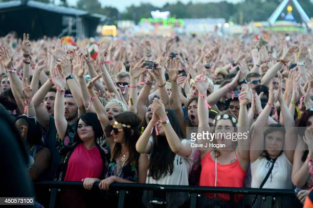 View of the crowd during the performance of Biffy Clyro at The Isle of Wight Festival at Seaclose Park on June 13 2014 in Newport Isle of Wight