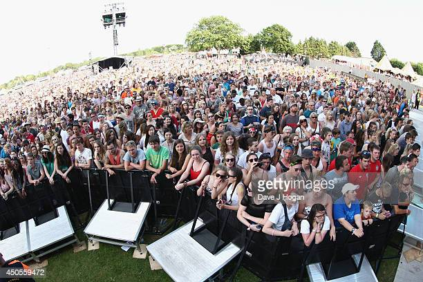 View of the crowd during the performance of 'Lawson' at The Isle of Wight Festival at Seaclose Park on June 13 2014 in Newport Isle of Wight
