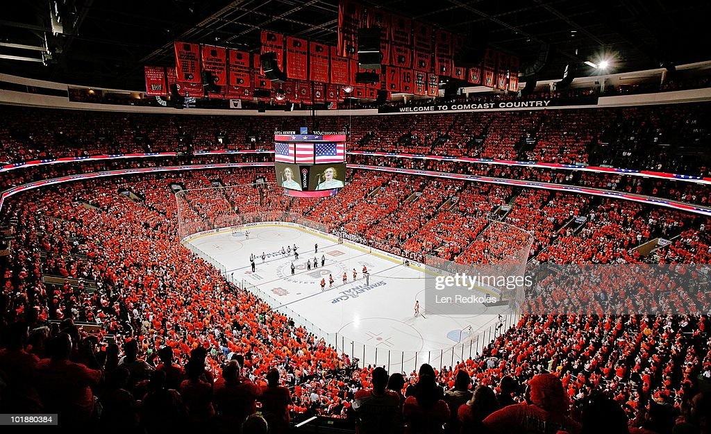 A view of the crowd during the singing of God Bless America at the start of Game Four of the 2010 NHL Stanley Cup Final between the Philadelphia...