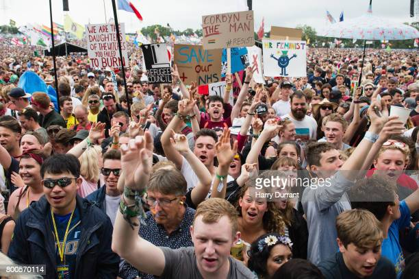 View of the crowd during the speech of Jeremy Corbyn on day 3 of the Glastonbury Festival 2017 at Worthy Farm Pilton on June 24 2017 in Glastonbury...
