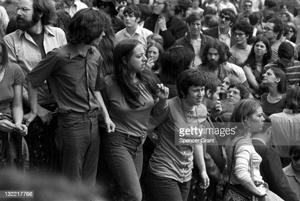 View of the crowd including students gathered for a feminist rally on Boston Common 1969