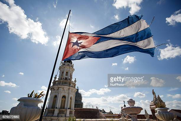 A view of the Cuban flag from the rooftop terrace of Hotel Inglaterra located in Havana's city center On Thursday 1 December 2016 in Havana Cuba