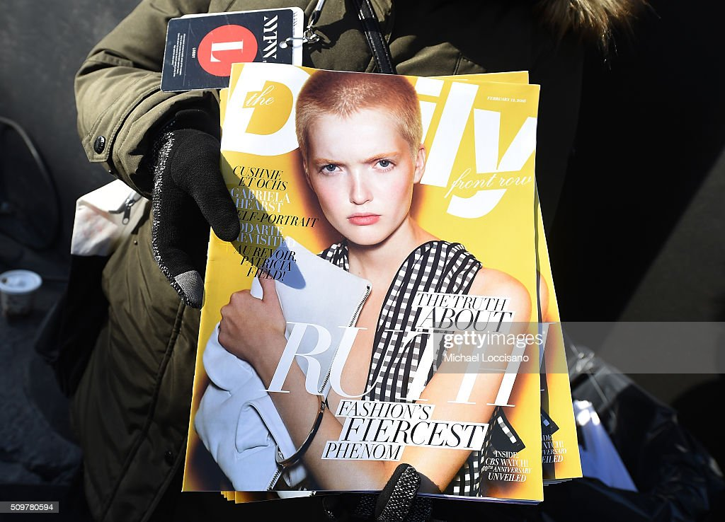 A view of The Daily Front Row magazine on display during New York Fashion Week: The Shows at Clarkson Sq on February 12, 2016 in New York City.