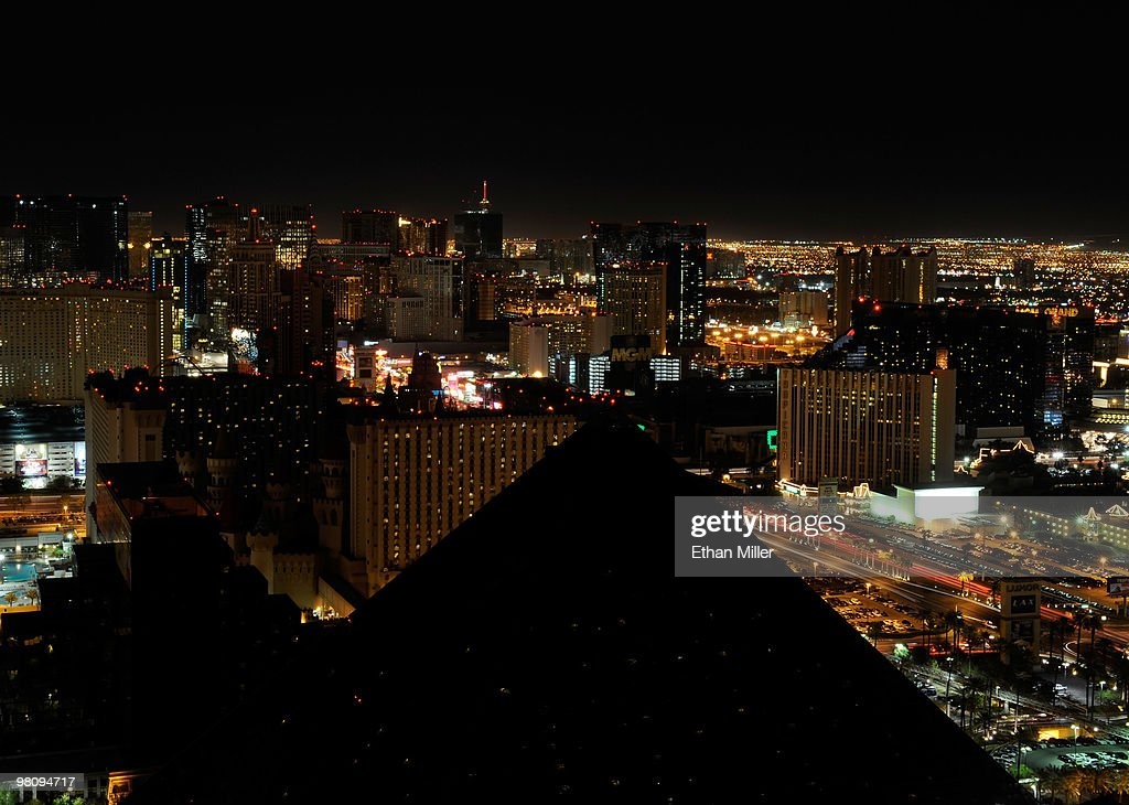 A view of the darkened Las Vegas Strip during Earth Hour seen from Mix at THEhotel at Mandalay Bay March 27, 2010 in Las Vegas, Nevada. Hotel-casinos in Las Vegas turned off marquees and non-essential exterior lighting to participate in Earth Hour, a global initiative by the World Wildlife Fund to focus attention on the threat of climate change.