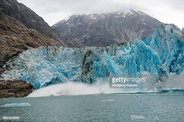 View of the Dawes Glacier calving a tidal glacier in Endicott Arm Tongass National Forest Southeast Alaska USA