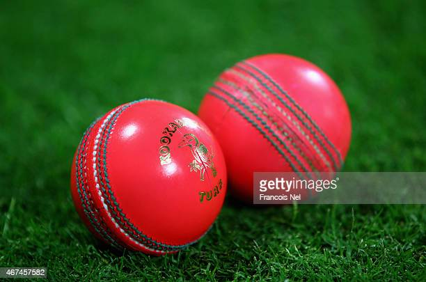 A view of the day/night pink balls used during day three of the Champion County match between Marylebone Cricket Club and Yorkshire at Sheikh Zayed...