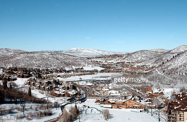 A view of the Deer Valley Ski Resort as its members prepare for the Olympic Winter Games January 14 2002 at the Deer Valley Ski Resort in Park City...