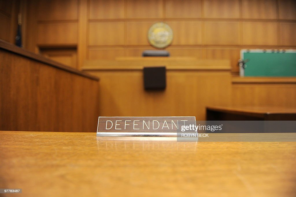A view of the defendant's table in a courtroom closed due to budget cuts and layoffs at the Stanley Mosk Courthouse in downtown Los Angeles on March...