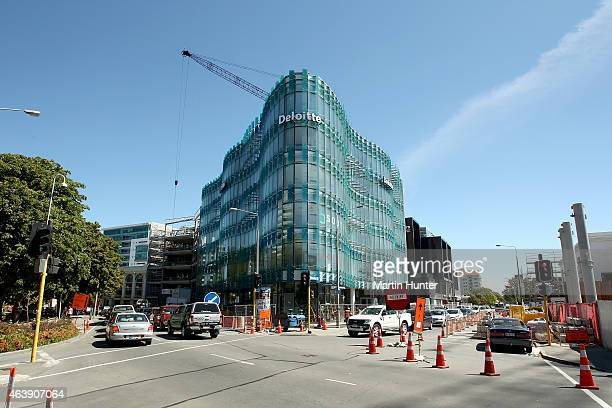 A view of the Deloitte building on Colombo street on February 20 2015 in Christchurch New Zealand Buildings and parks in the Christchurch central...