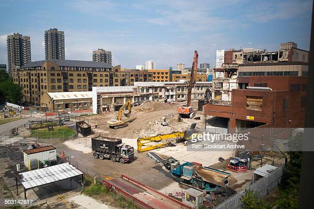 View of the demolition work at the former News International site known as 'Fortress Wapping' London England July 21 2014 The 15acre site former home...