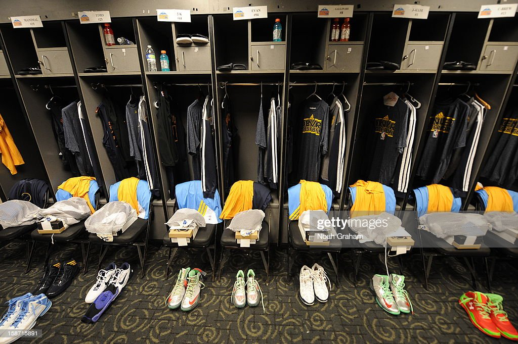 A view of the Denver Nuggets locker room before a Christmas Day game against the Los Angeles Clippers at Staples Center on December 25, 2012 in Los Angeles, California.