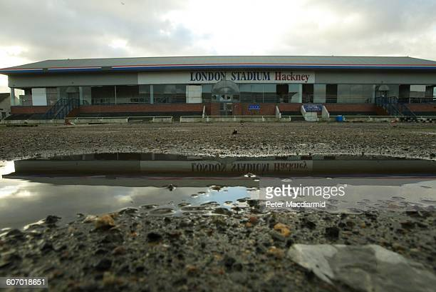 View of the derelict Hackney Wick Stadium a greyhound track later demolished London England January 23 2003 The site was to be the location of the...