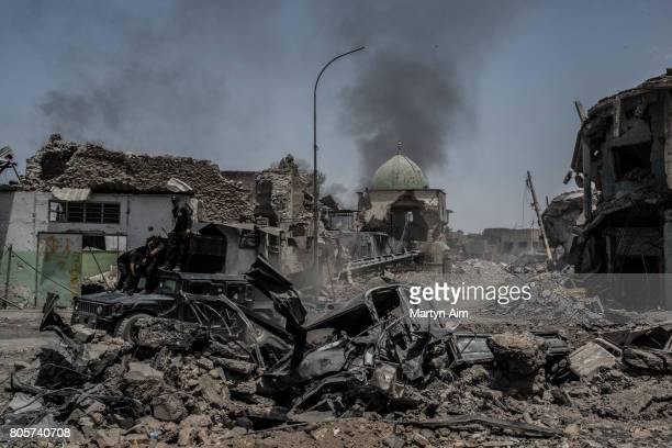 View of the destroyed alNuri mosque in the Old City district where heavy fighting continues on July 2 2017 in Mosul Iraq Iraqi forces continue to...