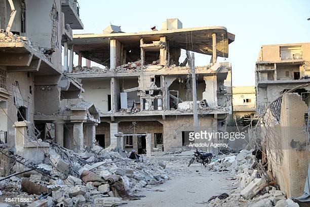 A view of the destruction after the Assad regime forces shelling on the oppositioncontrolled areas in Daraa Syria on August 19 2015 Many buildings...