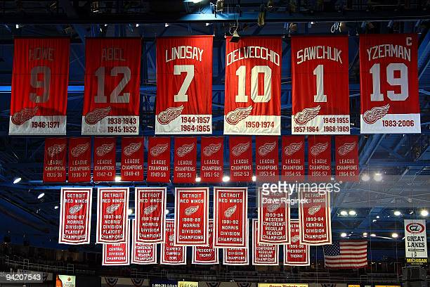 A view of the Detroit Red Wings banners before a NHL game against the St Louis Blues at Joe Louis Arena on December 9 2009 in Detroit Michigan