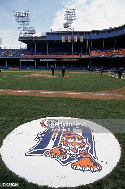 View of the Detroit Tigers logo displayed on the on deck circle at Tiger Stadium prior to the game between the Detroit Tigers and the Cleveland...