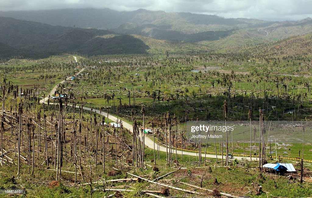 A view of the devastation left by super typhoon Bopha can be seen as the country struggles to rebuild typhoon-hit areas on December 30, 2012 in Cateel, Philippines.