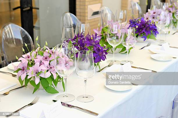A view of the dining area at a luncheon for Julien Dossena and the Paco Rabanne Fall Winter 2015 Collection hosted by Lisa Love and Barneys New York...