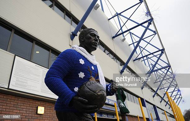 View of the Dixie Dean statue with a Christmas sweater prior to the Barclays Premier League match between Everton and Fulham at Goodison Park on...