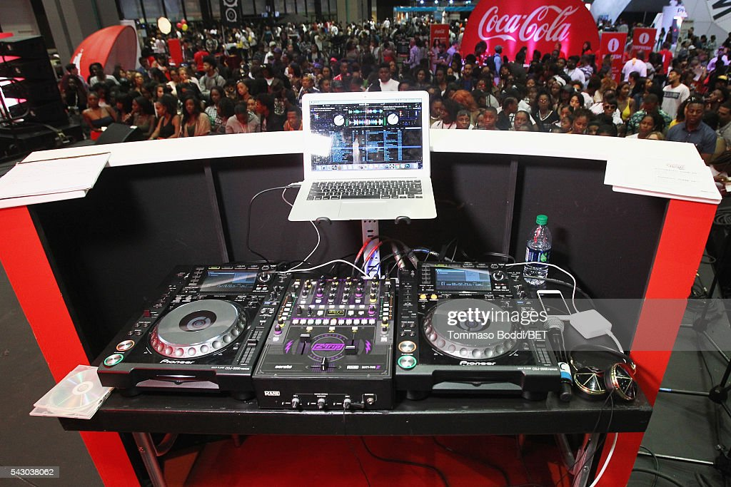 A view of the DJ booth at the Coke music studio during the 2016 BET Experience on June 25, 2016 in Los Angeles, California.