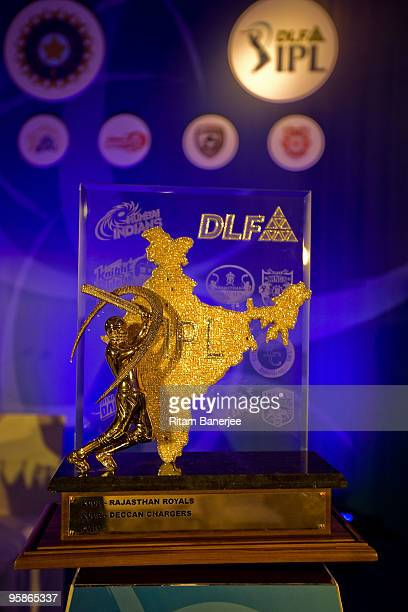 A view of the DLF Indian Premier League Trophy on display at the IPL Auction 2010 on January 19 2010 in Mumbai India