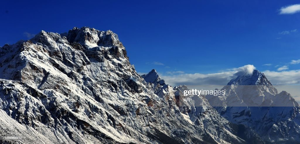 A view of the Dolomites mountains on January 18, 2013 in Cortina d'Ampezzo.