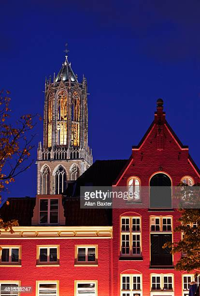 View of the Dom Tower at night in Utrecht