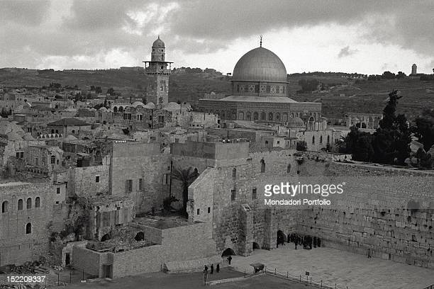 View of the Dome of the Rock also known as the Mosque of Omar the ancient Muslim shrine in Jerusalem built close to where the Temple of Solomon once...