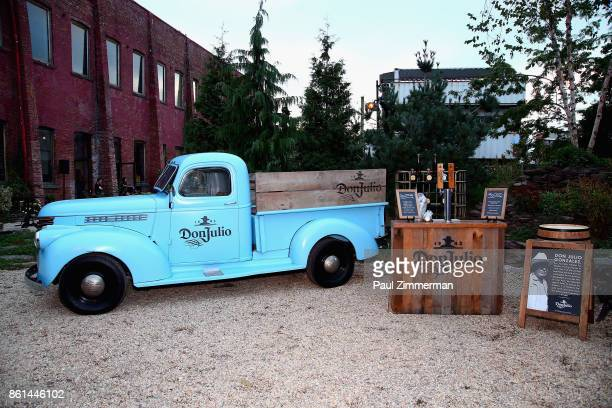 A view of the Don Julio bar and vintage truck during the Jimmy Kimmel Live Welcome to Brooklyn kickoff hosted by SMIRNOFF vodka at Pioneer Works on...