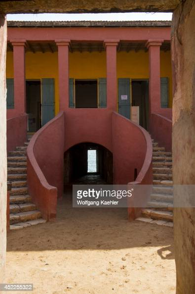 View of the door of no return in one of the slave houses on Goree Island in the Atlantic Ocean outside of Dakar in Senegal West Africa