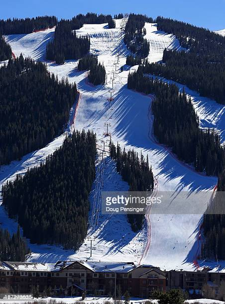 A view of the downhill course at the US Ski Team Speed Center at Copper Mountain on November 7 2013 in Copper Mountain Colorado The two mile long...