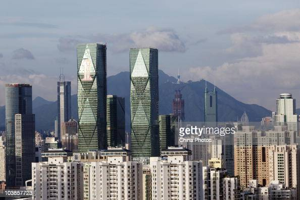 A view of the downtown area is seen on June 19 2010 in Shenzhen of Guangdong Province China Shenzhen situated immediately north of Hong Kong is...