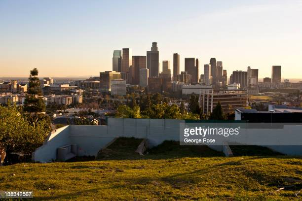 A view of the downtown skyline is seenfrom above Figueroa Terrace near Dodger Stadium on January 27 2012 in Los Angeles California Over the past 20...