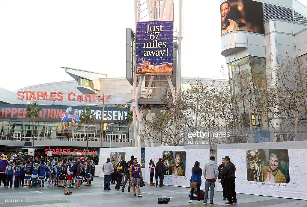 View of the Dr. Jerry Buss display after his memorail service at Nokia Theatre L.A. Live on February 21, 2013 in Los Angeles, California.