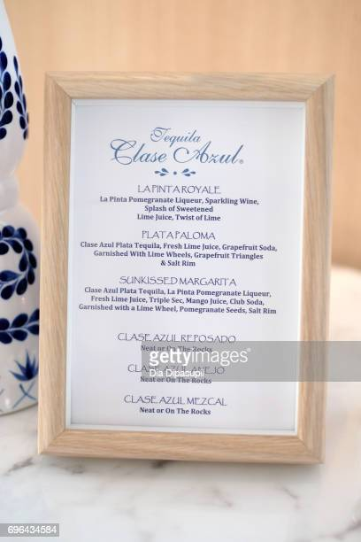 A view of the drink menu at the 20th Anniversary Celebration of Clase Azul Tequila at Public hotel on June 15 2017 in New York City